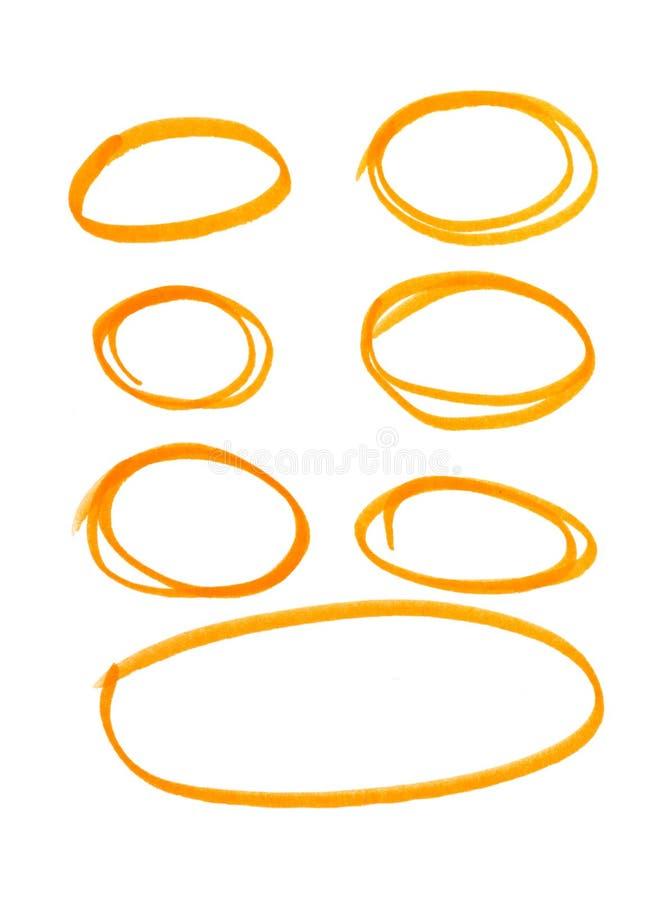 Oranje highlightercirkels op witte achtergrond royalty-vrije illustratie