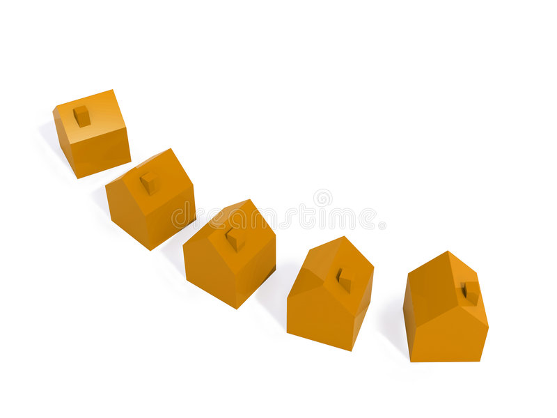 Oranje huizen stock illustratie