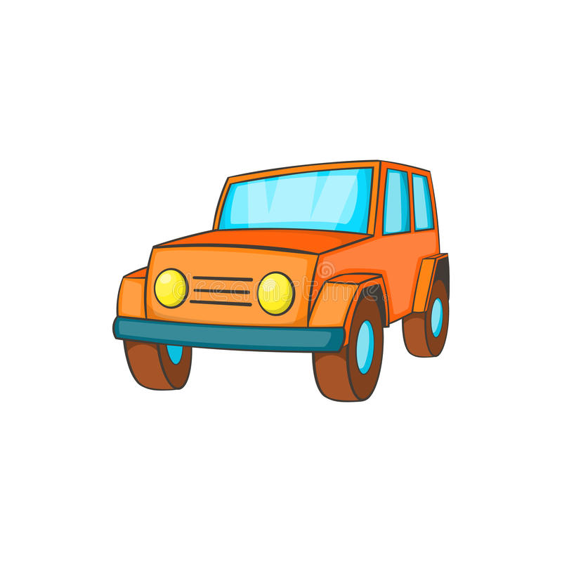 Oranje jeeppictogram in beeldverhaalstijl stock illustratie