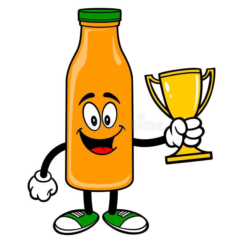 Oranje Juice Mascot die een Trofee houden vector illustratie