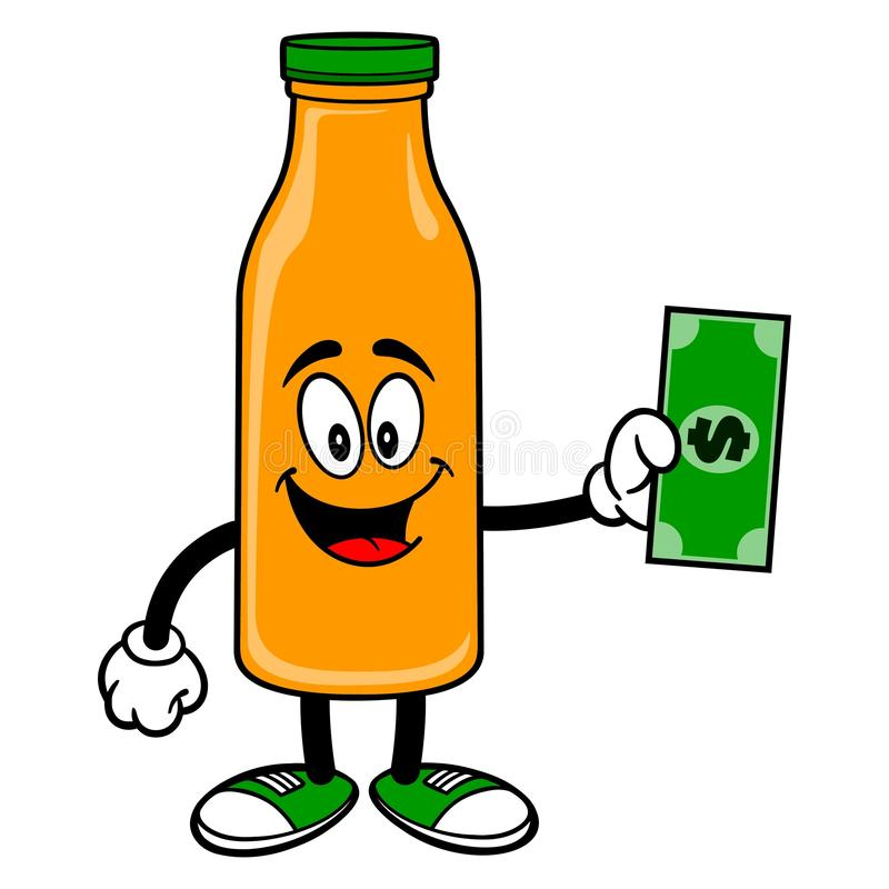 Oranje Juice Mascot met een Dollar stock illustratie