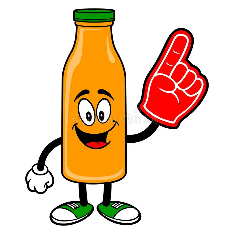 Oranje Juice Mascot met een Schuimhand royalty-vrije illustratie