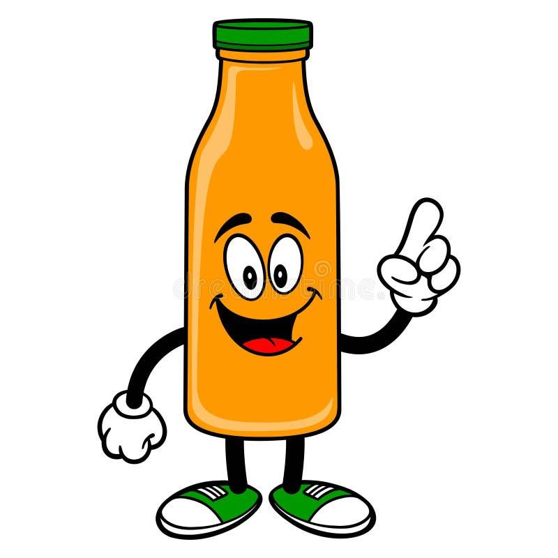 Oranje Juice Mascot Pointing stock illustratie