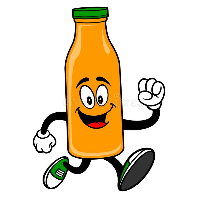 Oranje Juice Mascot Running royalty-vrije illustratie