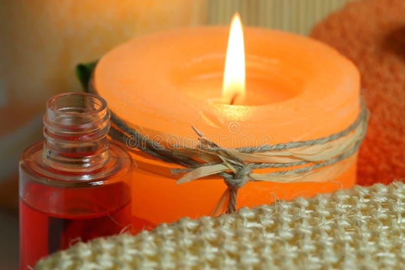 Oranje kaars stock afbeeldingen