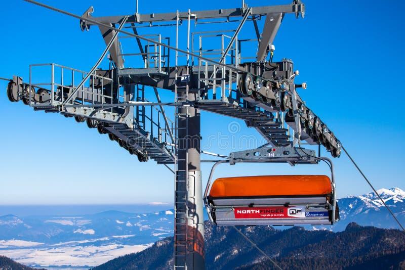 Oranje kabelbaan, Slowakije royalty-vrije stock afbeeldingen