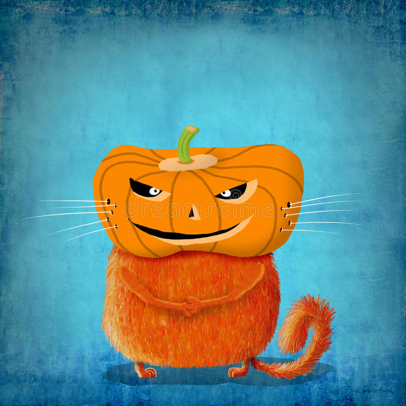 Oranje Kat met Pompoenhoofd stock afbeelding
