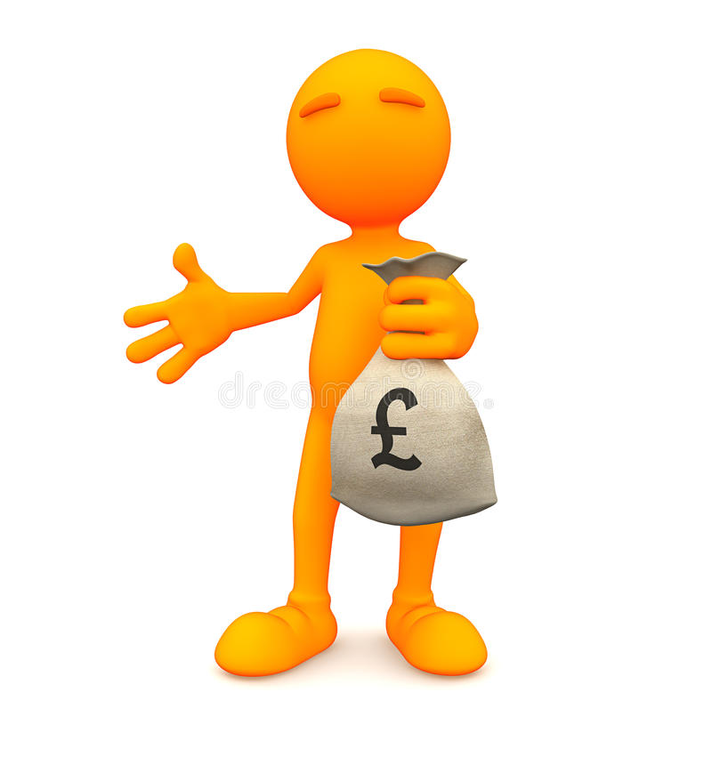 Oranje Kerel: De Zakhoogtepunt van de mensenholding van Geld stock illustratie