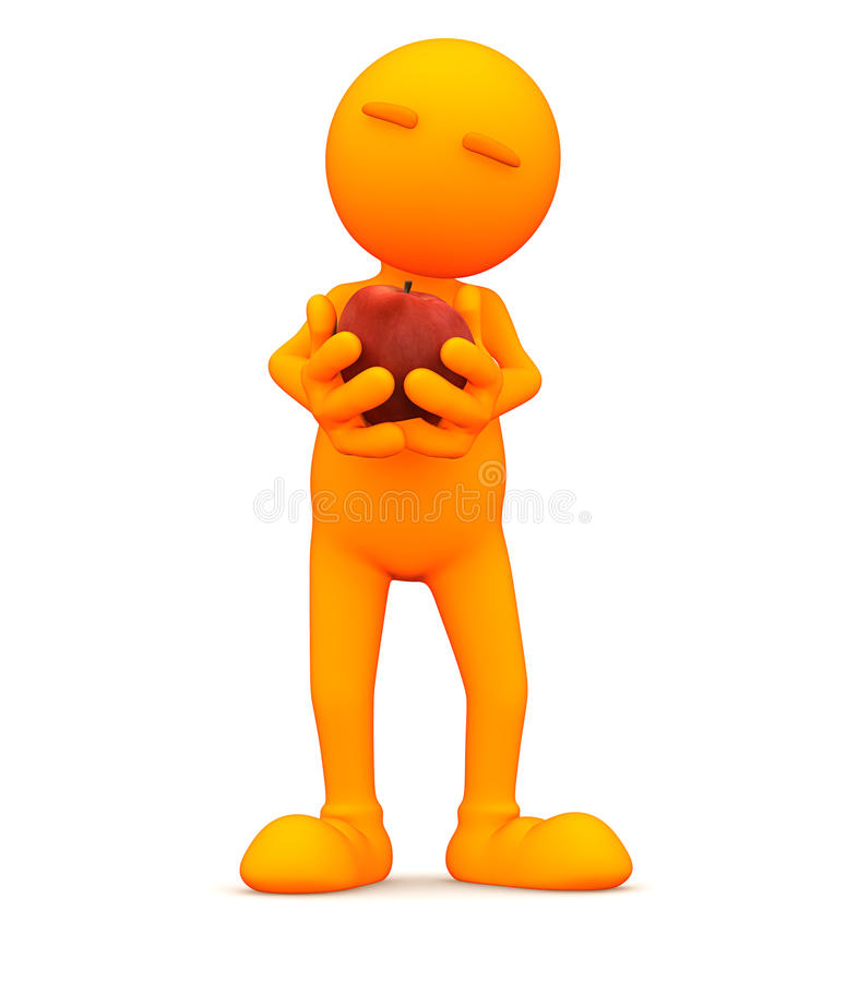 Oranje Kerel: Het houden van Rood Apple vector illustratie