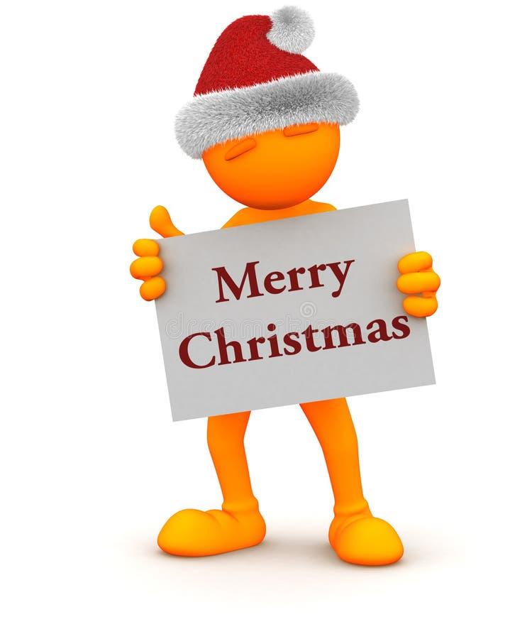 Oranje Kerel: Het houden van Vrolijk Kerstmisteken vector illustratie