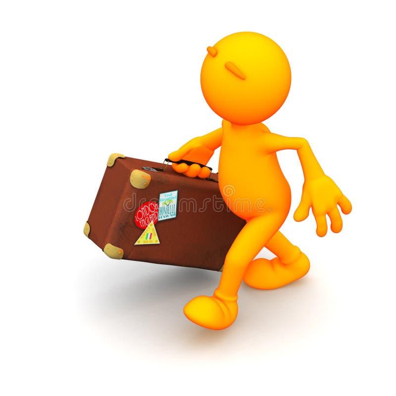 Oranje Kerel: Het lopen met Koffer stock illustratie