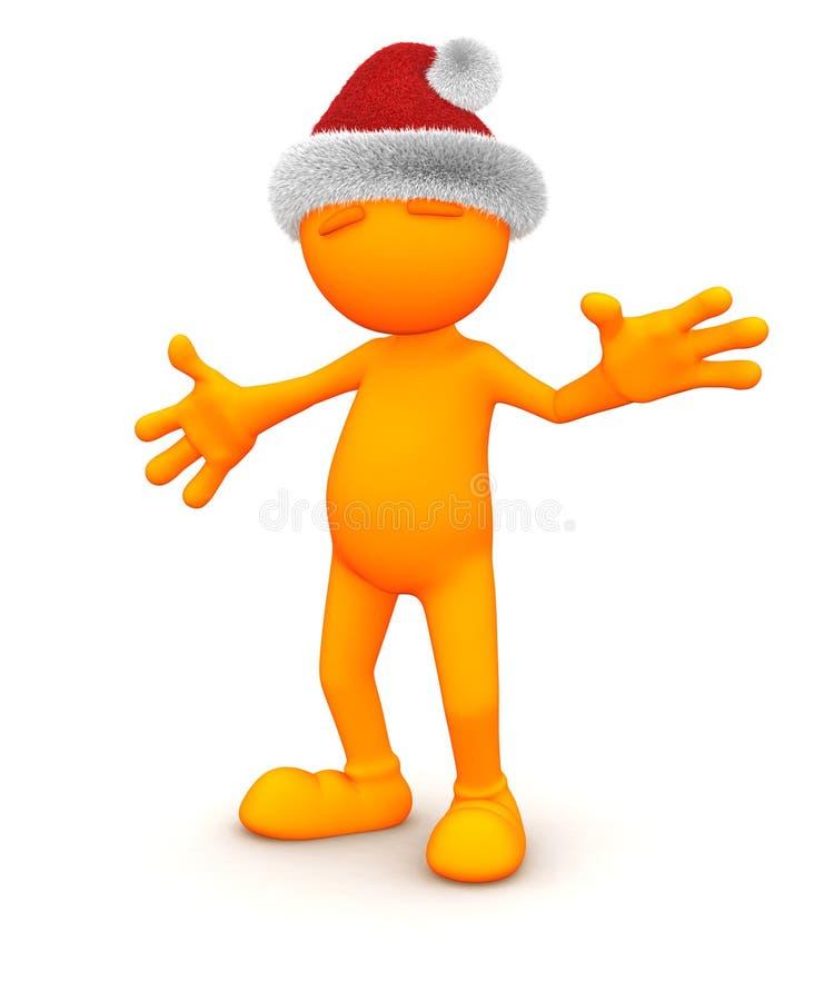 Oranje Kerel: Het stellen met Santa Hat vector illustratie