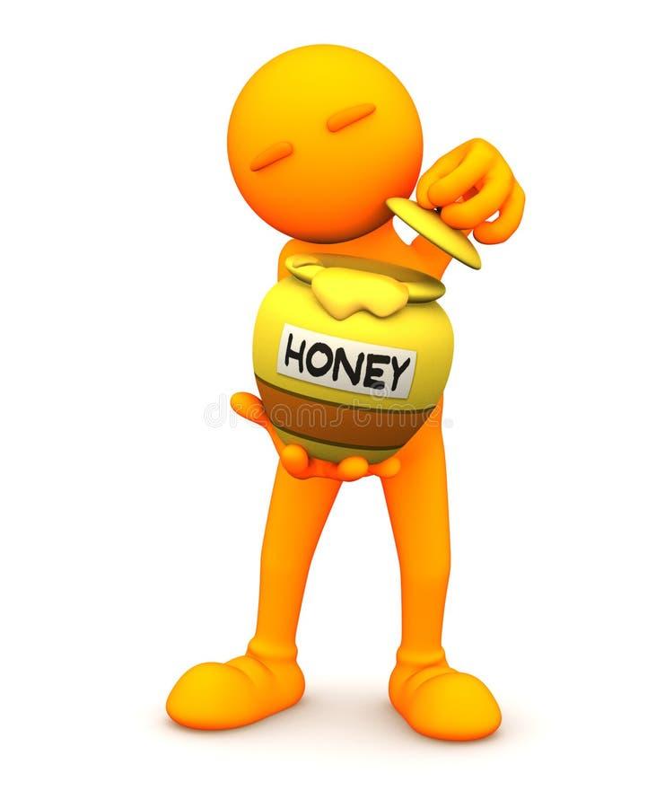 Oranje Kerel: Holding Honey Pot stock illustratie