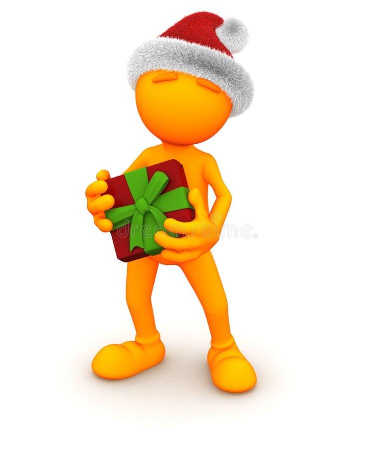 Oranje Kerel: Houdend Kerstmis Huidig vector illustratie
