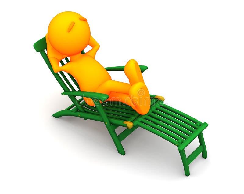 Oranje Kerel: Mensenzitting in Groene Ligstoel stock illustratie