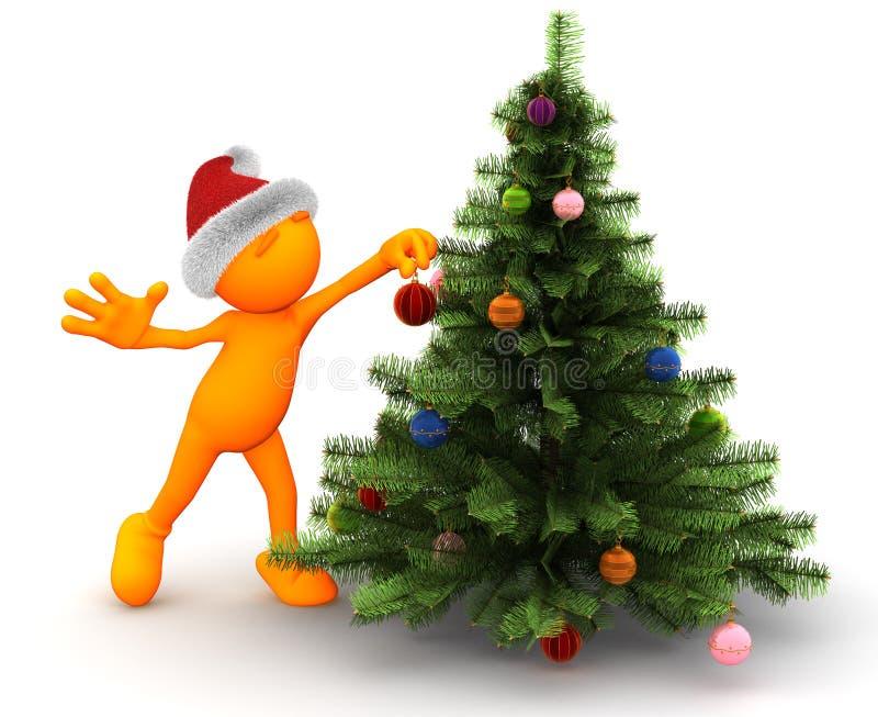 Oranje Kerel: Status door de Kerstboom stock illustratie