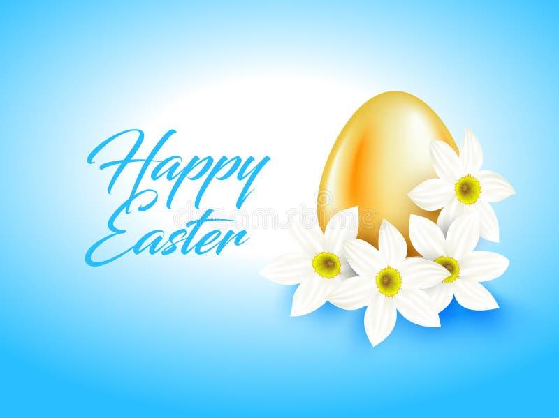 Oranje kleurenei en witte narcissenbloem op lichtblauwe achtergrond Heldere groetkaart met Gelukkige Pasen-teksten vector illustratie