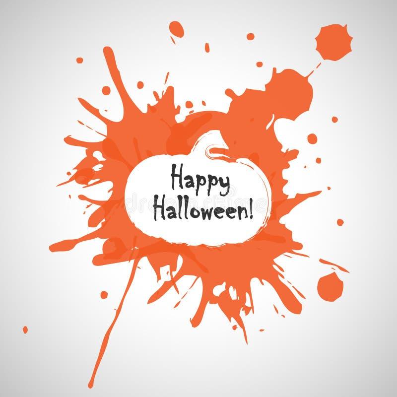 Oranje Kleurenplons met Beweging veroorzakende Pompoen en Halloween-Groet stock afbeelding