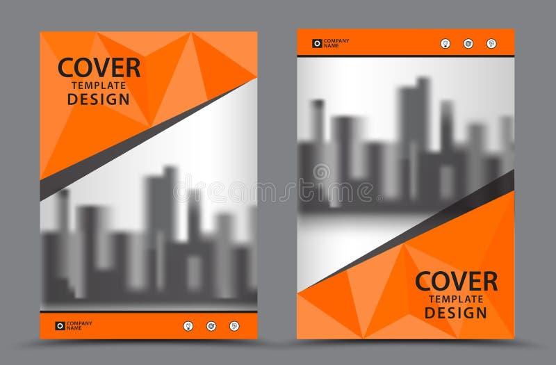 Oranje Kleurenschema met het Ontwerpmalplaatje Stads Achtergrond van de Bedrijfsboekdekking in A4 royalty-vrije illustratie