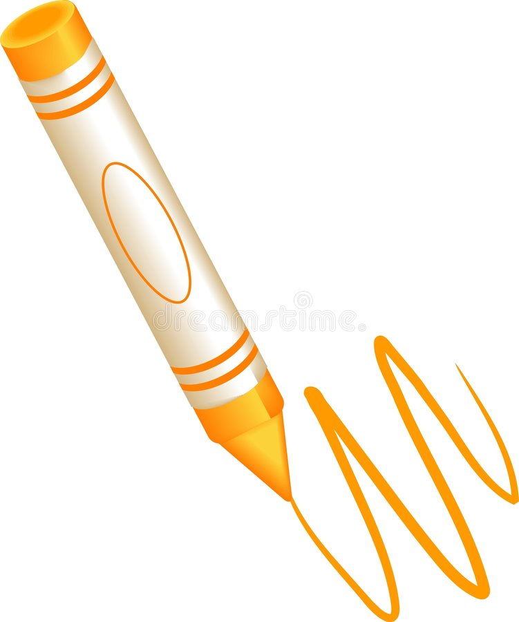 Oranje kleurpotlood royalty-vrije illustratie