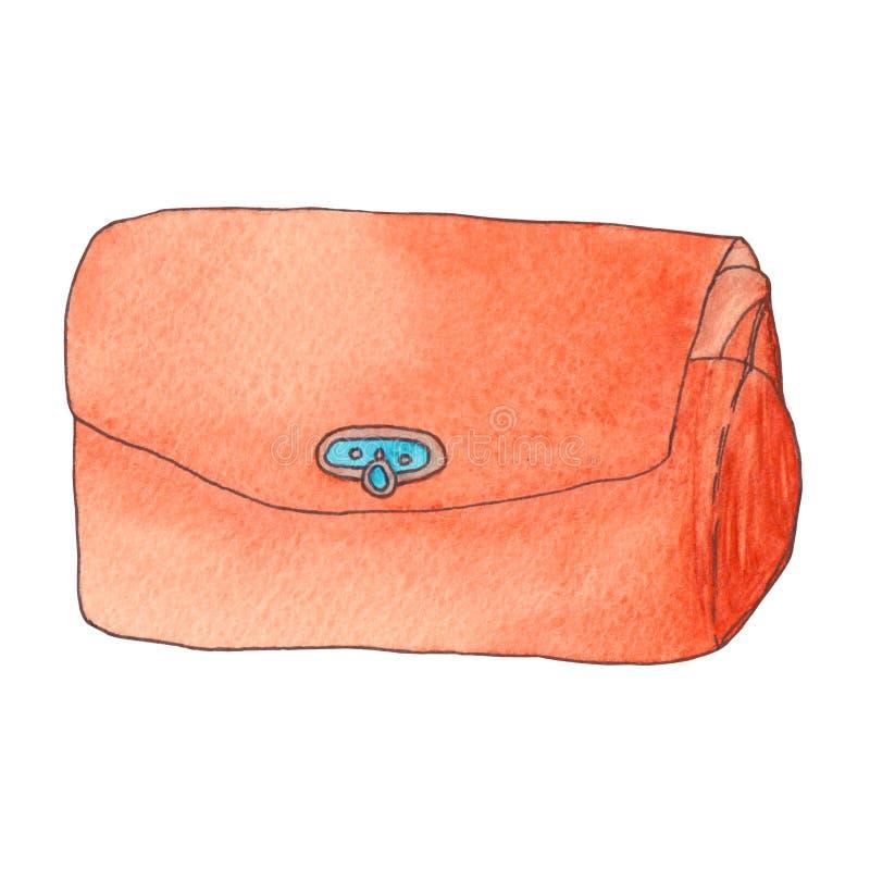Oranje leerkoppeling Kleurrijke waterverfillustratie stock illustratie