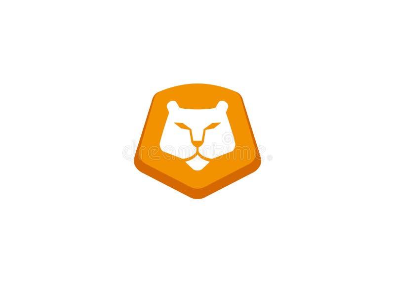 Oranje leeuwhoofd en gezicht voor de illustratie van het embleemontwerp stock illustratie