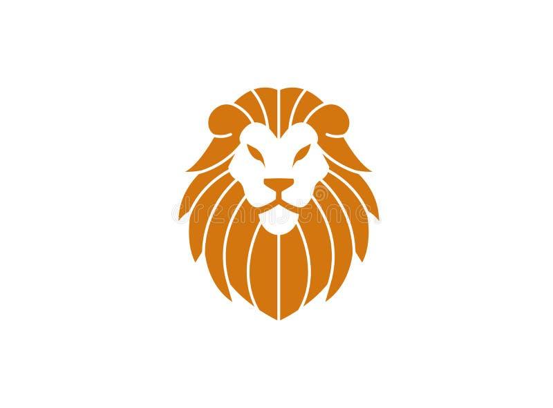 Oranje leeuwhoofd en gezicht voor embleemontwerp royalty-vrije illustratie
