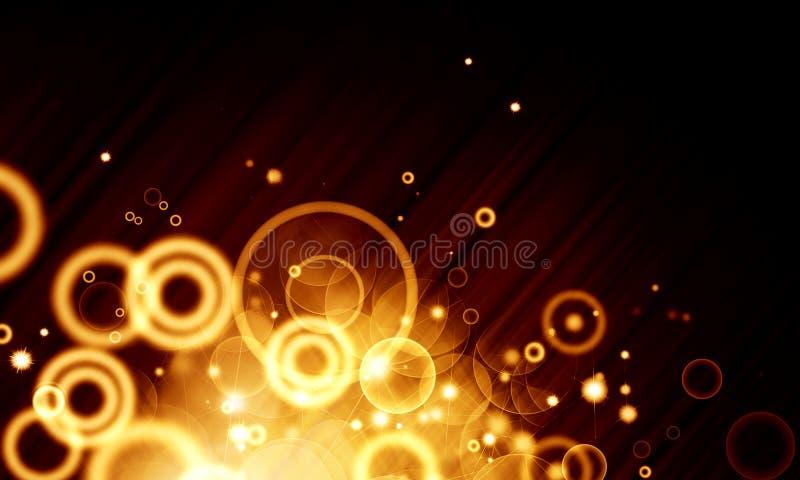Oranje lichteffect voor zwarte achtergrond, bokeh, gele cirkels, stock illustratie