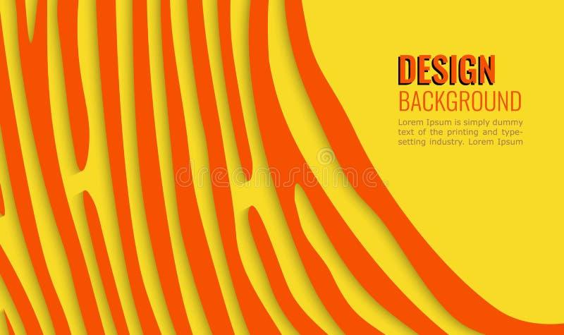 Oranje lijnen op gele blauwe achtergrond Heldere horizontale abstracte achtergrond Moderne achtergrond voor dekkingsontwerp, vlie stock illustratie