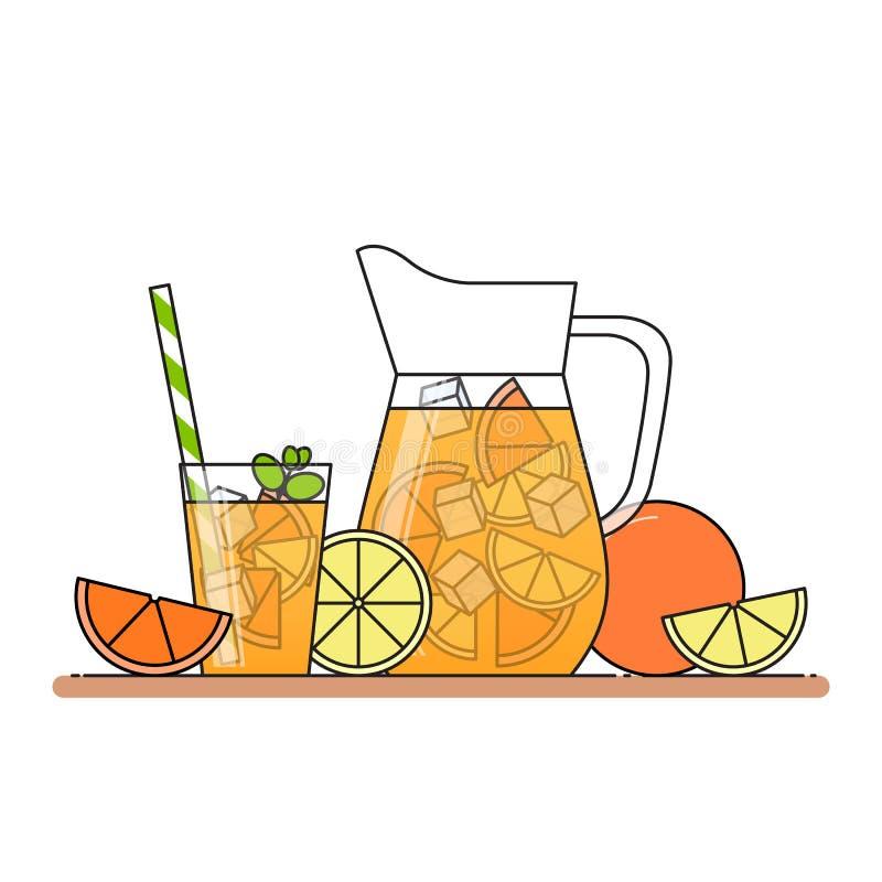 Oranje limonade met citrusvruchtenplakken, ijs en betekend in kruik en glas met stro, besnoeiingscitroen en sinaasappel Geïsoleer stock illustratie