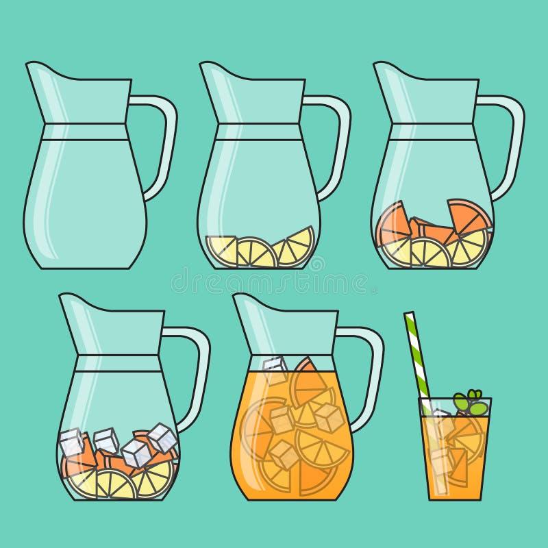 Oranje limonade met citrusvruchtenplakken, ijs en betekend in kruik en glas met stro Geleidelijke instructie Geïsoleerd op kleure royalty-vrije illustratie