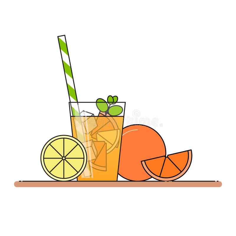 Oranje limonade met fruitplakken, ijs en betekend in glas met stro, besnoeiingscitroen en sinaasappel Geïsoleerdj op witte achter stock illustratie