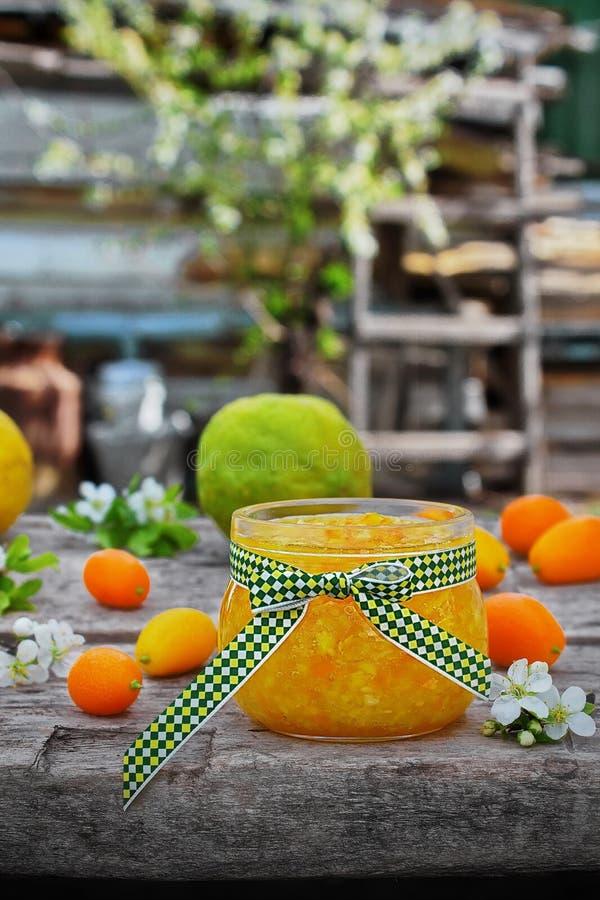Oranje marmelade in een glaskruik met vers fruit royalty-vrije stock foto