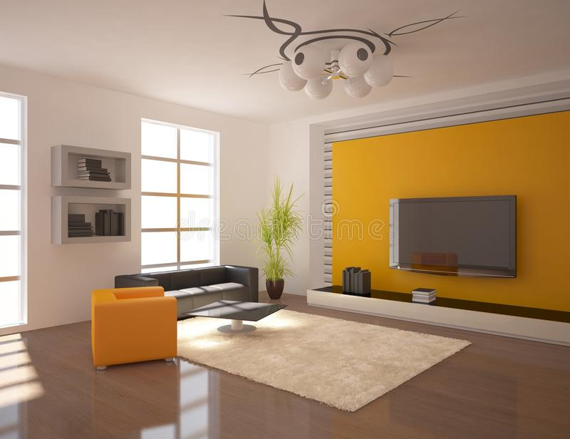 Oranje modern ontwerpbinnenland royalty-vrije illustratie