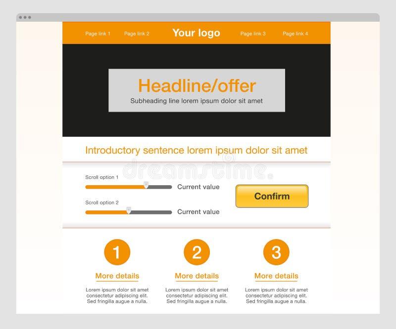 Oranje modern websitemalplaatje stock afbeelding