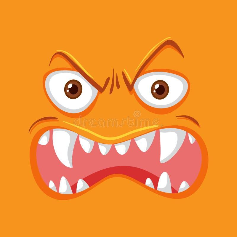 Oranje monster boos gezicht vector illustratie