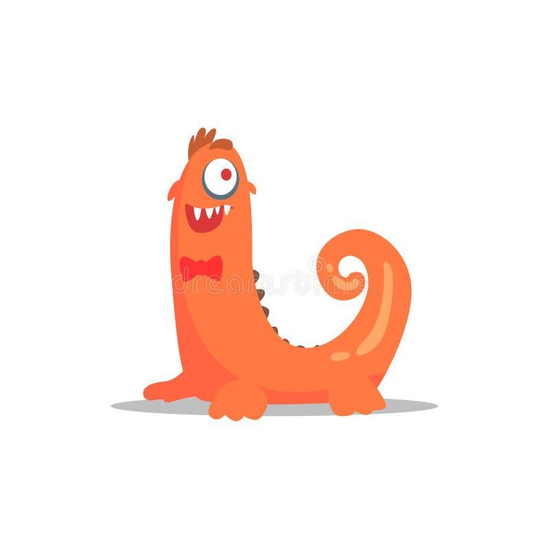 Oranje MonsterIn-Vlinderdas met Gekrulde Staart Partying Hard als Gast bij Betoverende Elegante Partij Vectorillustratie vector illustratie