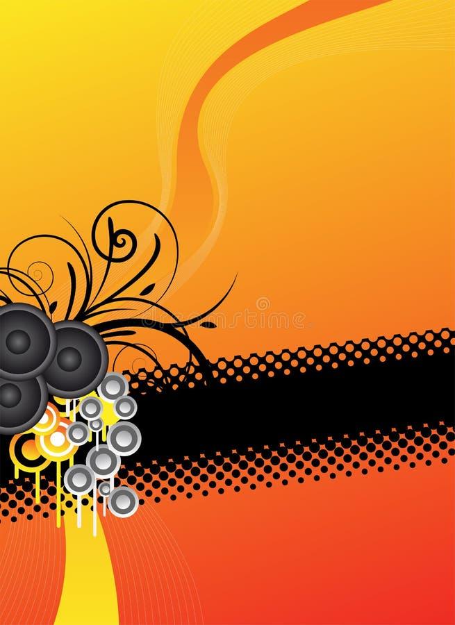 Oranje muziekontwerp als achtergrond royalty-vrije illustratie