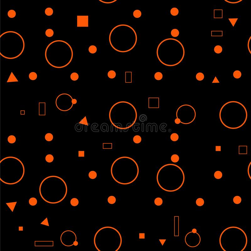 Oranje naadloos patroon Abstracte Achtergrond met Cirkels en Vierkanten Ornge en zwart stipornament royalty-vrije illustratie