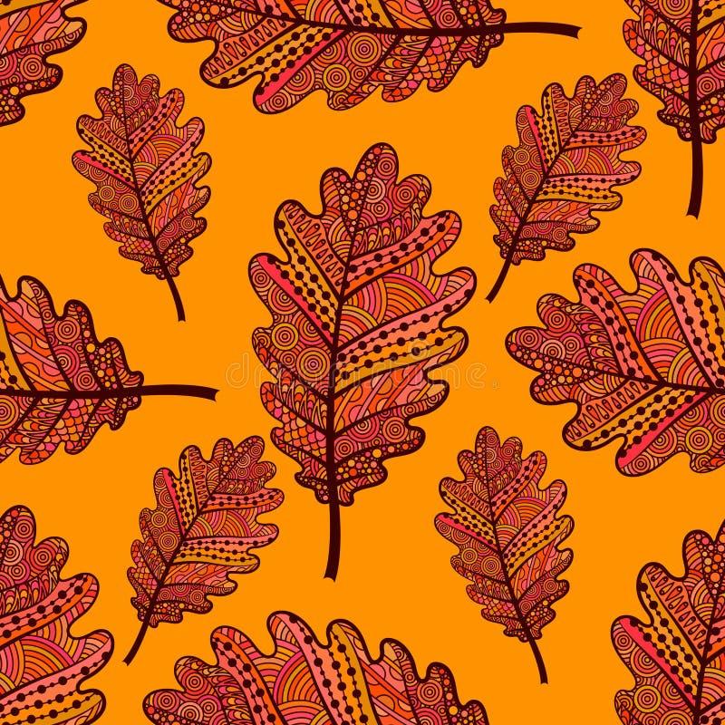 Oranje naadloos patroon met eiken bladeren vector illustratie