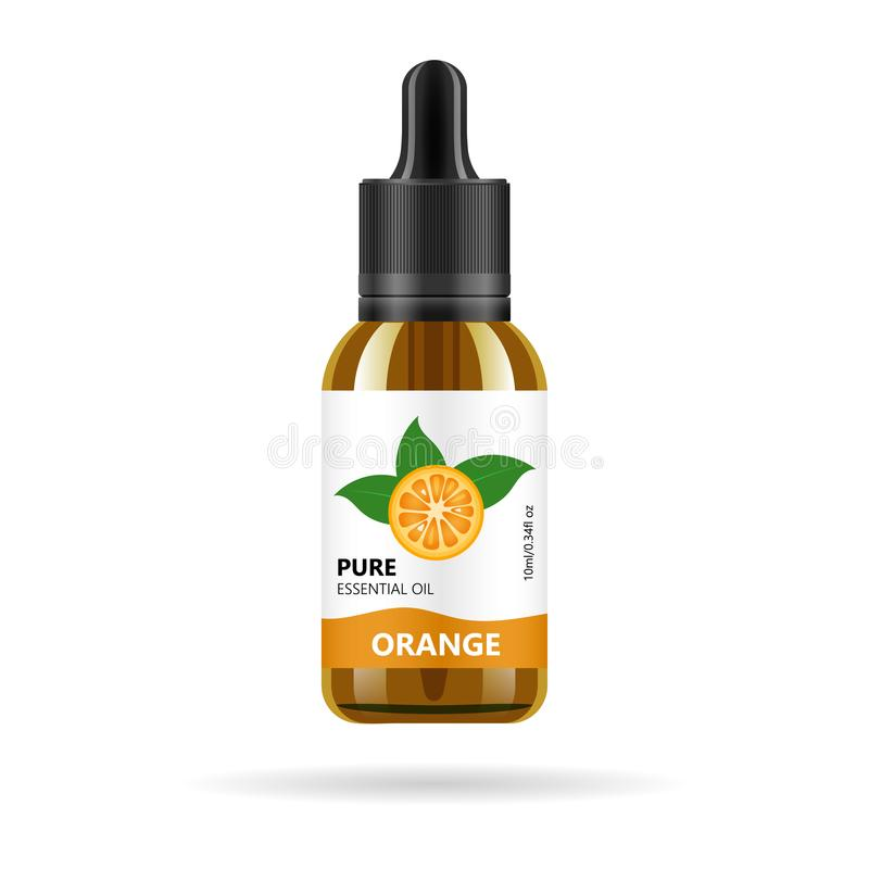 Oranje olie in glaskruik Vector verpakkend ontwerpmalplaatje en embleem - schoonheid, medische en kosmetische olie Spot op flesje royalty-vrije illustratie