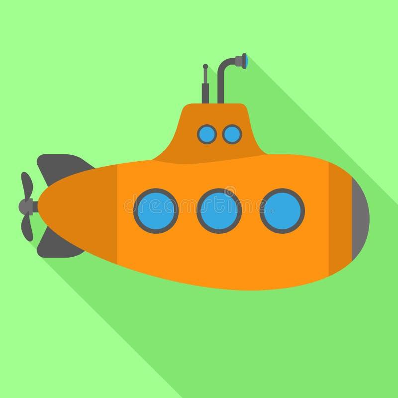 Oranje onderzees pictogram, vlakke stijl stock illustratie