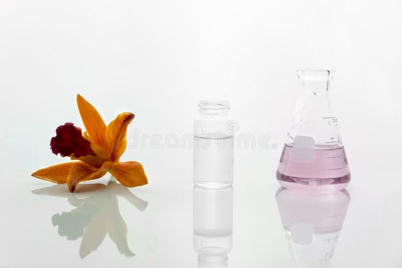 Oranje orchideebloem met glasflesje en fles met roze oplossing op de witte achtergrond van het wetenschaps kosmetische laboratori royalty-vrije stock foto's