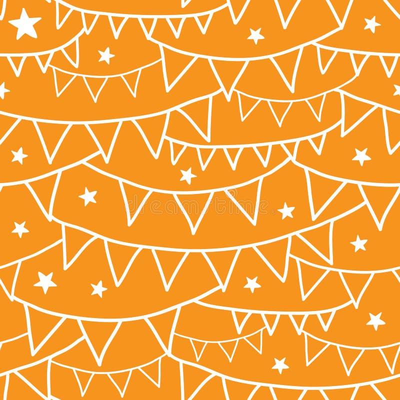 Oranje Partijbunting Naadloze Patroonachtergrond royalty-vrije illustratie