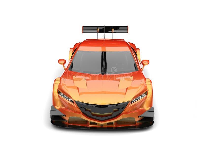 Oranje pearlescent moderne super sportwagen - vooraanzicht vector illustratie
