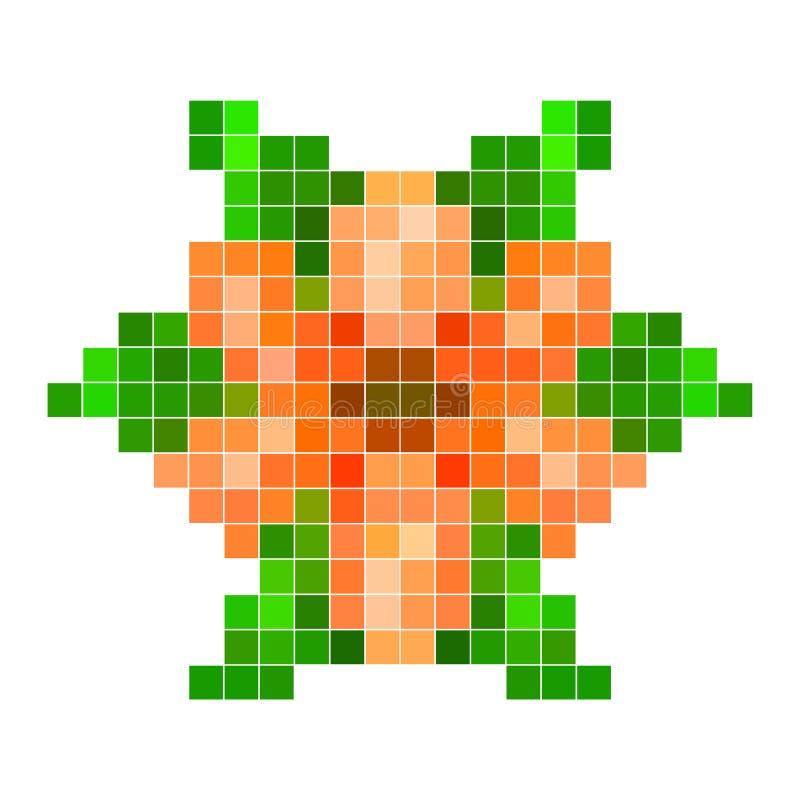 Oranje pixelbloem vector illustratie