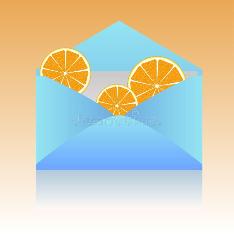 Oranje plakken in een envelop stock foto's