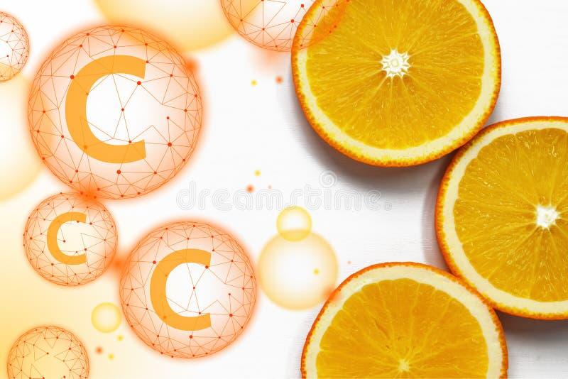 Oranje plakken op witte achtergrond Tropisch helder sappig vlak fruit vegetarisch gezond dieetsupplement van vitamine C royalty-vrije stock fotografie