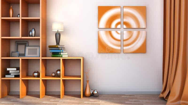 Oranje plank met vazen, boeken en lamp stock illustratie