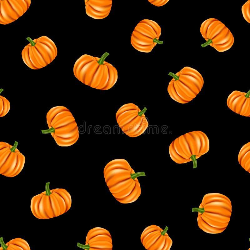 Oranje pompoenen met groene stam op zwarte achtergrond royalty-vrije illustratie